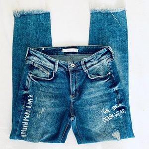 Zara Trafaluc Denimwear Distressed Jeans= SZ 6